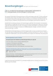 Bewerbungsschluss ist der 27.10.2013. Voraussetzung für die ...