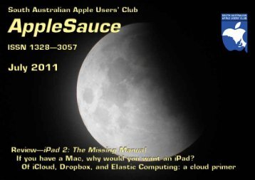 AppleSauce, July 2011 - South Australian Apple Users' Club