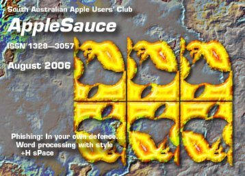 AppleSauce August 2006 - South Australian Apple Users' Club