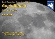 AppleSauce July 2006 - South Australian Apple Users' Club