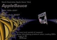 AppleSauce, November 2007 - South Australian Apple Users' Club