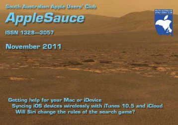 AppleSauce, November 2011 - South Australian Apple Users' Club