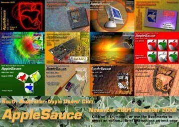 AppleSauce contents 2001..2003 - South Australian Apple Users' Club