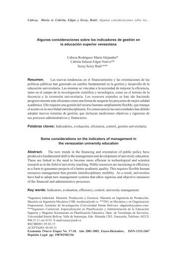 33 Algunas consideraciones sobre los indicadores de ... - Saber -ULA