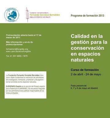 Calidad en la gestión para la conservación en ... - Saber ULA