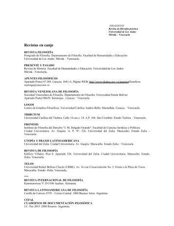 Revistas en canje - Saber -ULA - Universidad de Los Andes