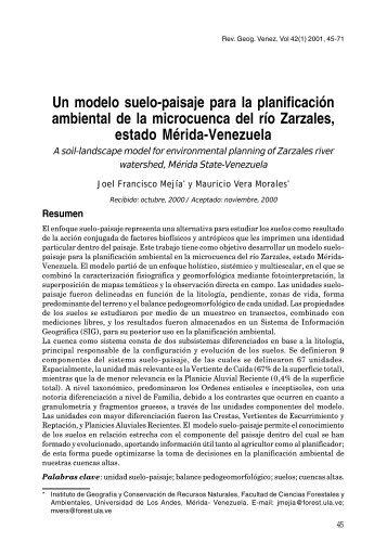Un modelo suelo-paisaje para la planificación ambiental de la ...