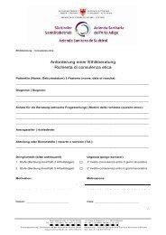 Anforderung einer Ethikberatung Richiesta di consulenza etica ...