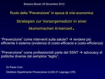 Ruolo della Prevenzione in epoca di crisi economica