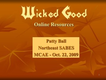 Wicked Good Online Resources for Your Program and ... - SABES