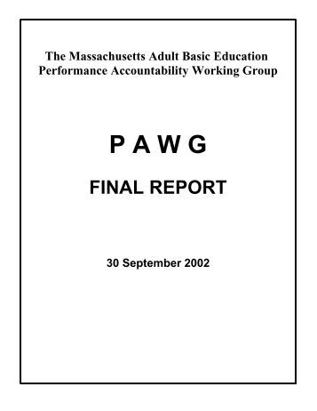 PAWG I Final Report - SABES
