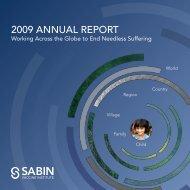 2009 AnnuAl RepoRt - Sabin Vaccine Institute