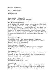Questions and Answers Day 1 – 10 October 2001 Beer ... - SABMiller
