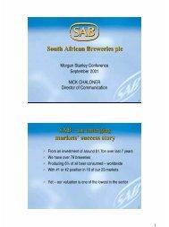an emerging markets' success story - SABMiller