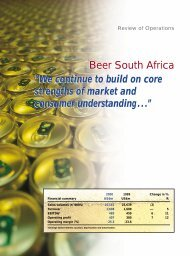 """Beer South Africa """"We continue to build on core ... - SABMiller"""