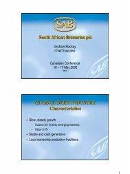 South African Breweries plc GLOBAL BEER INDUSTRY ... - SABMiller
