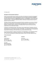 Explanatory booklet mailed by Foster's Group Ltd in ... - SABMiller