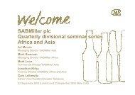 SABMiller plc - Quarterly divisional seminar series - Africa and Asia