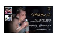 Financial year 2013, half year results to 30 September ... - SABMiller