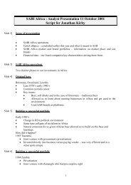 SABI Africa : Analyst Presentation 11 October 2001 Script - SABMiller