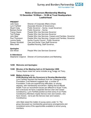 Notes of Governors Membership Meeting 12 December 10:00am ...