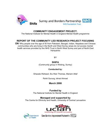 Shifa Community Engagement Project Report - Surrey and Borders ...