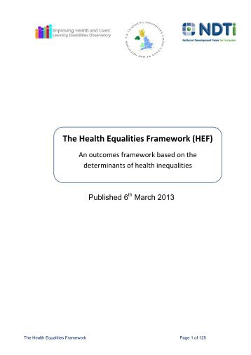 The Health Equalities Framework - The National Development Team ...