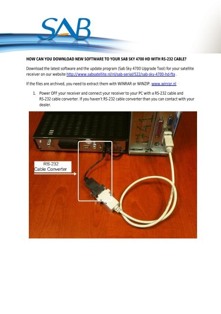 HOW CAN YOU DOWNLOAD NEW SOFTWARE TO     - Sab Satellite