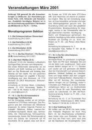Veranstaltungen März 2001 - SAC Sektion Albis
