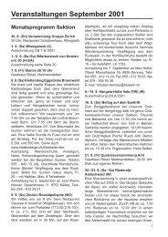 Veranstaltungen September 2001 - SAC Sektion Albis