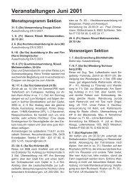 Veranstaltungen Juni 2001 - SAC Sektion Albis