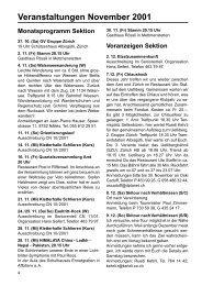 Veranstaltungen November 2001 - SAC Sektion Albis