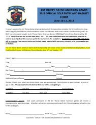 Golf Entry form 2013 - Sac and Fox Nation