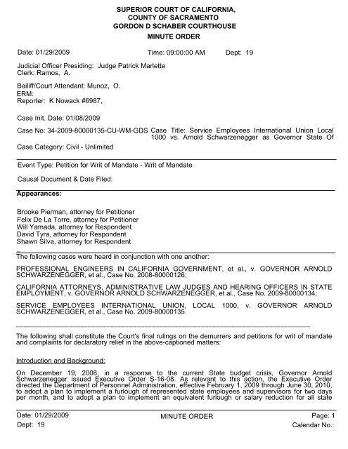 MINUTE ORDER SUPERIOR COURT OF CALIFORNIA