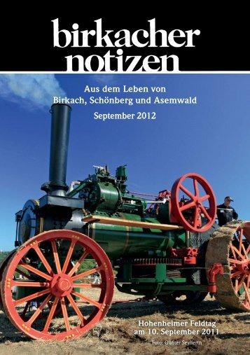 Aus dem Leben von Birkach, Schönberg und ... - Birkacher Notizen