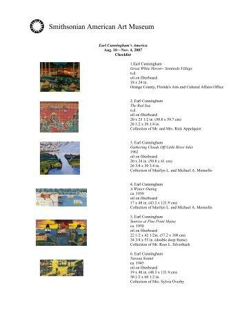 Exhibition Checklist - Smithsonian American Art Museum