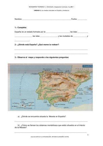 EXAMEN UNIDAD 6. Los medios naturales en España y ... - Aula PT