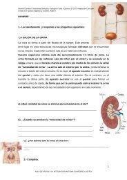 EXAMEN Unidad 3.El Aparato Digestivo y Excretor. Aljibe 3 - Aula PT