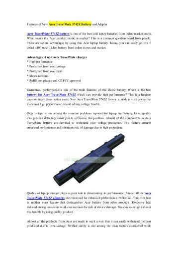 Features of New Acer TravelMate 5742Z Battery and Adapter.pdf
