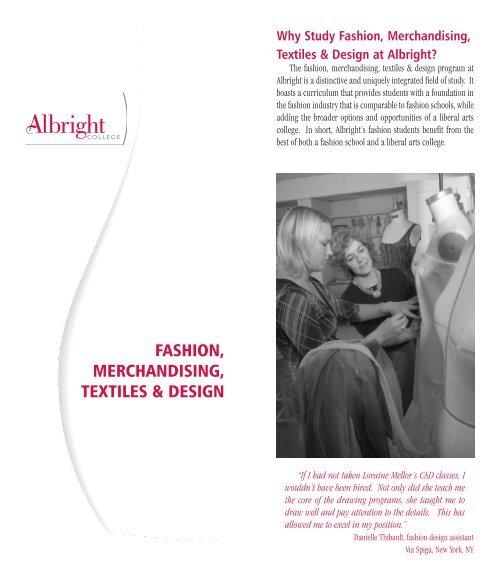 Fashion Merchandising Textiles Design Albright College