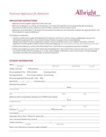 Application for admission in college