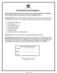 Client History Questionnaire - Bellevue Club
