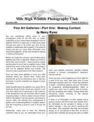 November 2009 - Mile High Wildlife Photography Club