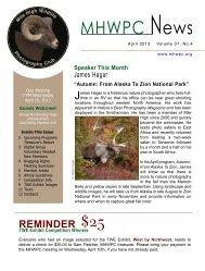 April 2013 Newsletter (PDF) - Mile High Wildlife Photography Club