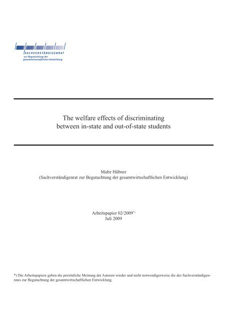 The welfare effects of discriminating between in-state and out-of ...