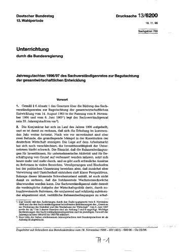 Jahresgutachten 1996/97 - Sachverständigenrat zur Begutachtung ...