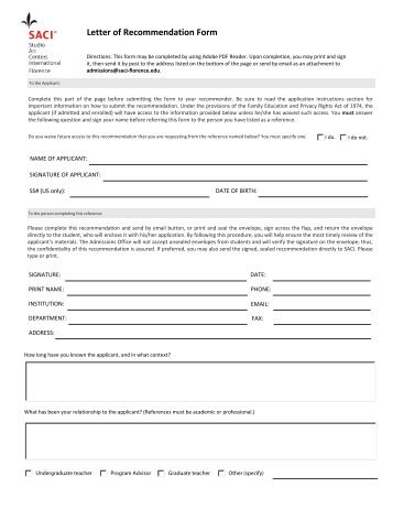 form for letter of recommendation