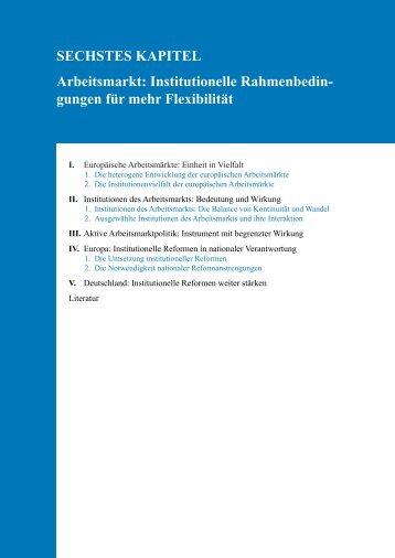Arbeitsmarkt: Institutionelle Rahmenbedingungen für mehr Flexibilität