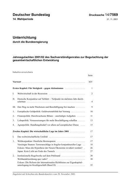 Jahresgutachten 2001/02 - Sachverständigenrat zur Begutachtung ...