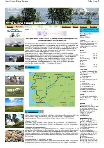Nord-Ostsee-Kanal Radtour Kanal Radtour - Sackmann Fahrradreisen